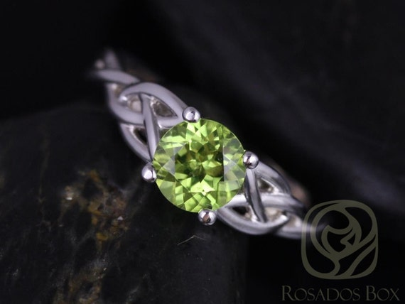 6mm Round Peridot Celtic Love Knot Triquetra Engagement Ring,14kt Solid White Gold,Cassidy 6mm,Rosados Box