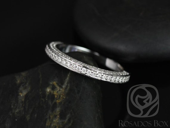 Rosados Box Matching Band to Ellen 8mm Micro Pave Diamonds HALFWAY Eternity Band