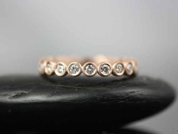 Rosados Box Original Bubbles 2.8mm 14kt Rose Gold Round Bezel Diamonds FULL Eternity Band