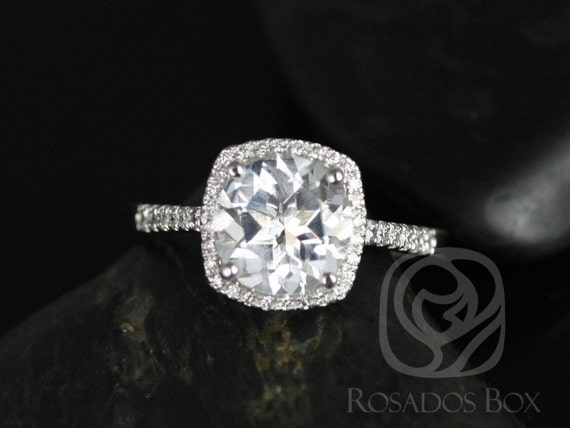 Rosados Box Barra 9mm Princess Size 14kt White Gold White Topaz and Diamonds Cushion Halo Engagement Ring