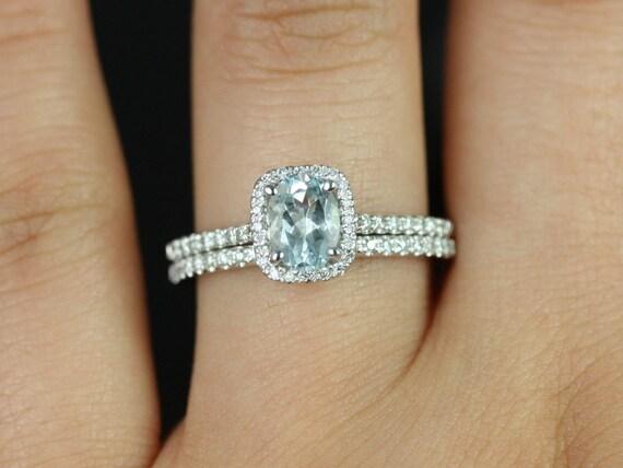 Rosados Box Romani  7x5mm 14kt White Gold Oval Aquamarine Diamond Cushion Halo   Wedding Set Rings