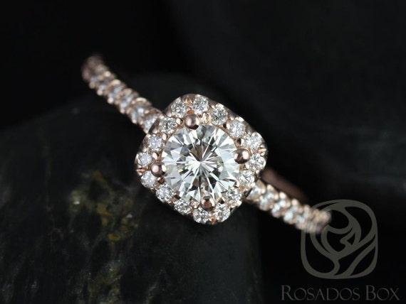 Rosados Box Mikena 1/2ct 14kt Rose Gold Diamond Cushion Halo Engagement Ring
