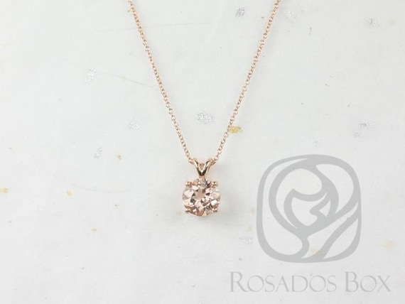 Rosados Box Ready to Ship Donna 8mm 14kt Rose Gold Round Morganite Leaf Gallery Basket Solitaire Necklace