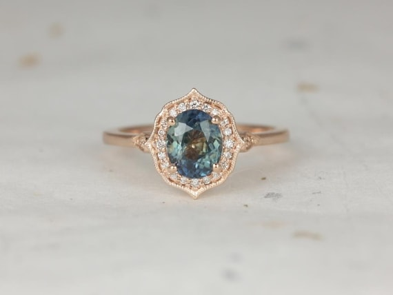 Rosados Box Ready to Ship Mae 1.46cts 14kt Rose Gold Oval Ocean Teal Sapphire and Diamond Halo WITH Milgrain Engagement Ring