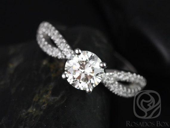 Rosados Box Karina 7mm 14kt White Gold Round Round Forever One Moissanite Diamonds Twist Engagement Ring