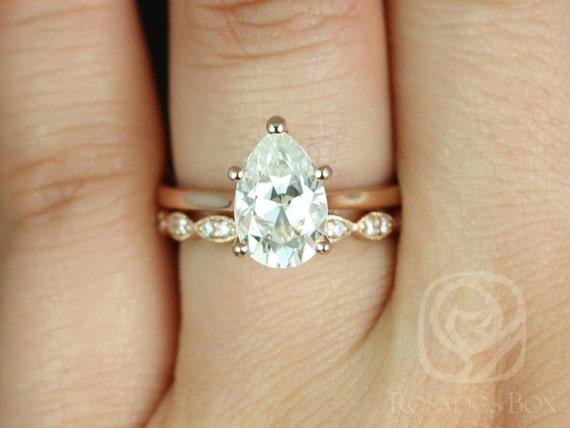 2ct Skinny Jane 10x7mm & Christie 14kt Rose Gold Forever One Moissanite Art Deco Pear Solitaire Wedding Set Rings,Rosados Box