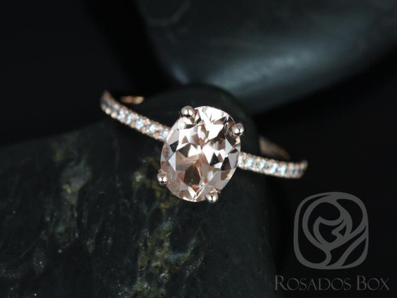 Rosados Box Hillary 9x7mm 14kt Rose Gold Oval Morganite and Diamond Basket Engagement Ring
