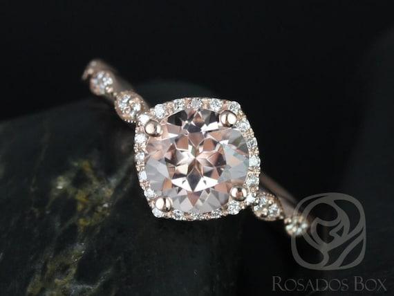 Rosados Box Katya 7mm 14kt Rose Gold Round Morganite and Diamond Kite Halo WITH Milgrain Engagement Ring