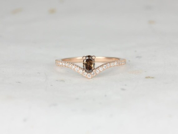 Rosados Box Ready to Ship Anaya 0.26cts 14kt Rose Gold Oval Chevron Flair Cognac Diamond Stackable Ring (S.L.A.Y. Collection)