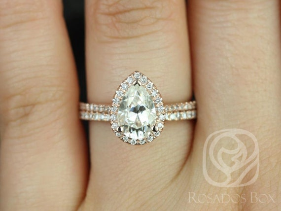 1.50cts Pear Forever One Moissanite White Sapphire Halo Wedding Set Rings,14kt Solid Rose Gold,DIAMOND FREE Tabitha 9x6mm,Rosados Box