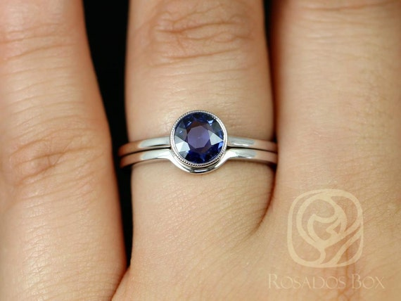 Rosados Box Ready to Ship Ida 0.74cts 14kt White Gold Round Rose Cut Blue Sapphire WITH Milgrain Bezel Wedding Set Rings