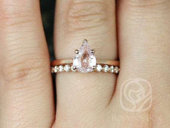 1.56cts Ready to Ship Skinny Jane & Petite Naomi Icy Blush Champagne Sapphire Diamonds Pear Solitaire Wedding Set Rings,Rosados Box