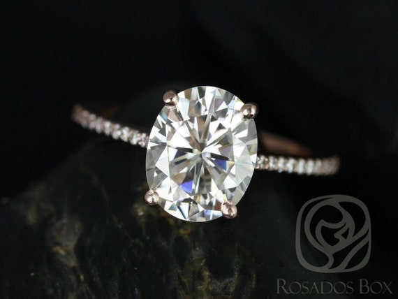 Rosados Box Blake 10x8mm 14kt Rose Gold Oval F1- Moissanite and Diamonds Cathedral Engagement Ring
