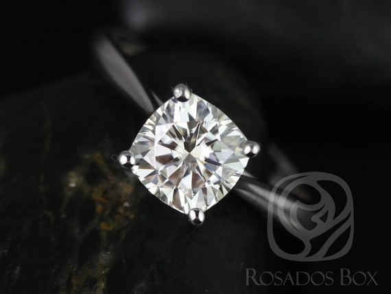 Rosados Box Florence 6.50mm 14kt White Gold Cushion F1- Moissanite Cathedral Solitaire Engagement Ring
