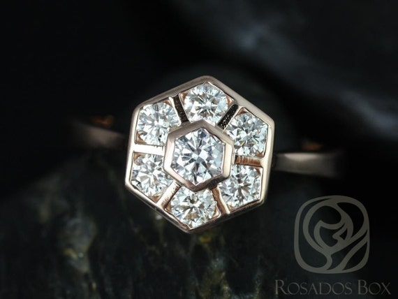 Hexagon Diamonds WITHOUT Milgrain Cluster Ring,14kt Solid Rose Gold,Mosaic Grande,Rosados Box