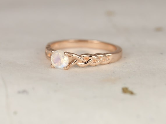 Prudence 5mm 14kt Rose Gold Rainbow Moonstone Braid Twisted Unique Ring,Rosados Box