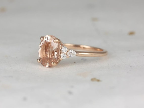 Cinderella 10x8mm 14kt Rose Gold Morganite Diamonds Unique Dainty Cluster 3 Stone Oval Engagement Ring,Rosados Box