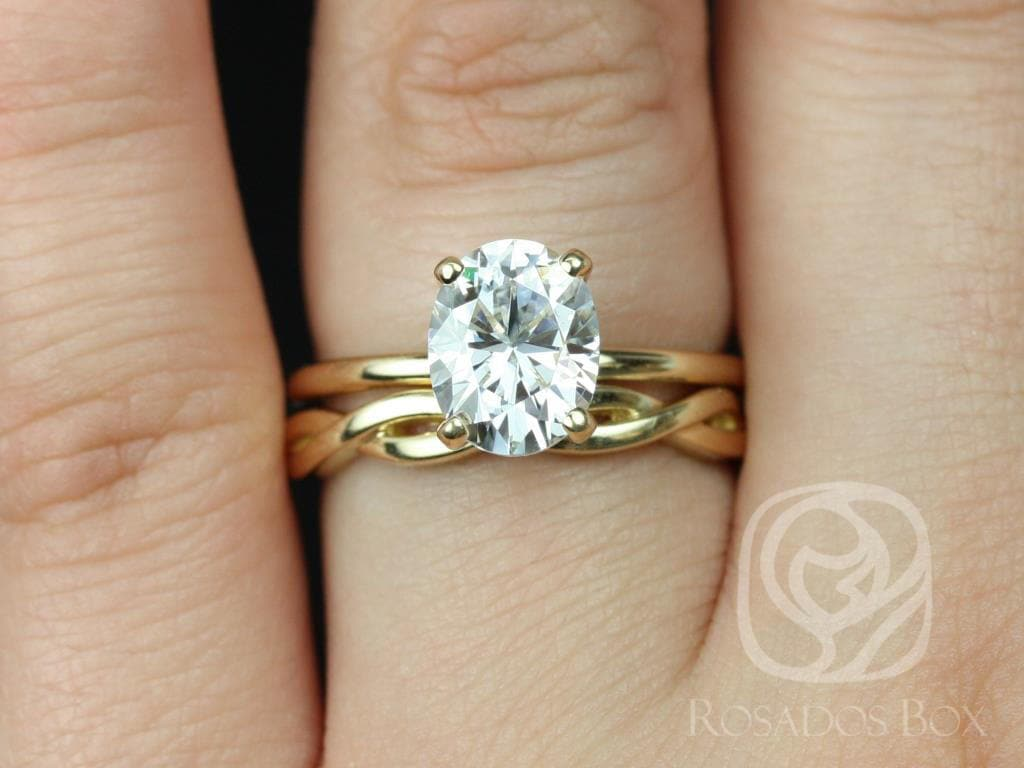 2ct Oval Forever One Moissanite Diamonds Dainty Twist