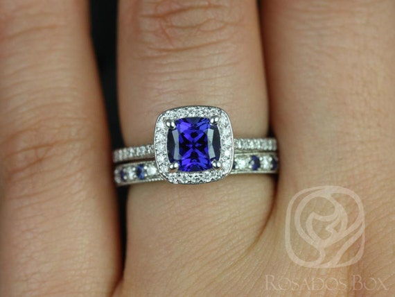 Rosados Box Hollie 6mm & Grace 14kt White Gold Cushion Blue Sapphire Diamond Halo Wedding Set Rings