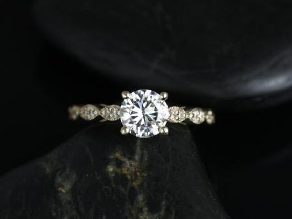 Rosados Box Helena 6mm 14kt Yellow Gold Round Forever One Moissanite Diamonds Engagement Ring