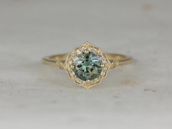 1.11ct Ready to Ship Lily 14kt Yellow Gold Jungle Teal Sapphire Diamond Art Deco Kite Cushion Halo WITH Milgrain Engagement Ring,Rosados Box
