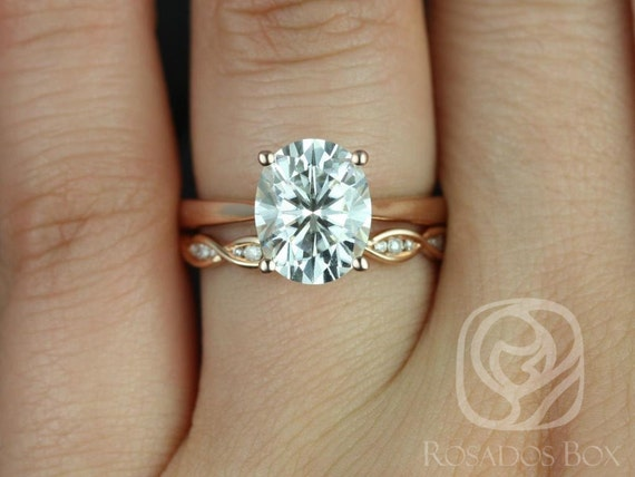 Rosados Box Skinny Lois 10x8mm & Ember 14kt Rose Gold Oval Forever One Moissanite and Diamond Tulip Wedding Set Rings