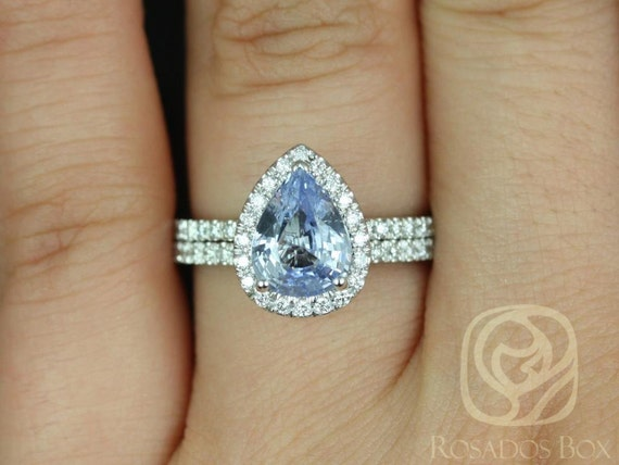 Rosados Box Ready to Ship Toni 2.04ct 14kt White Gold Pear Icy Blue Sapphire and Diamonds Halo Wedding Set
