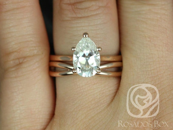 Rosados Box Skinny Jane 10x7mm & PLAIN Skinny Lima 14kt Rose Gold Pear F1- Moissanite Tulip Cathedral Wedding Set