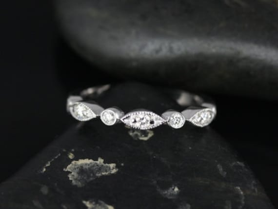 Rosados Box Original Bead & Eye 14kt White Gold Vintage Style Diamond HALFWAY Eternity Band