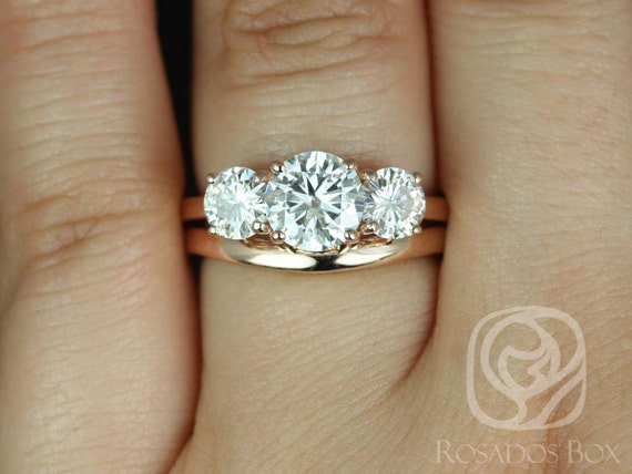 Rosados Box Robyn 7mm 14kt Rose Gold Round F1- Moissanite 3 Stone Wedding Set