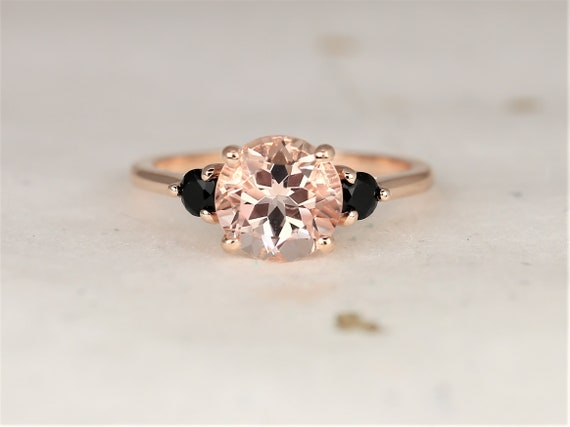 Colette 8mm 14kt Rose Gold Morganite Onyx Dainty Minimalist 3 Stone Engagement Ring,Rosados Box