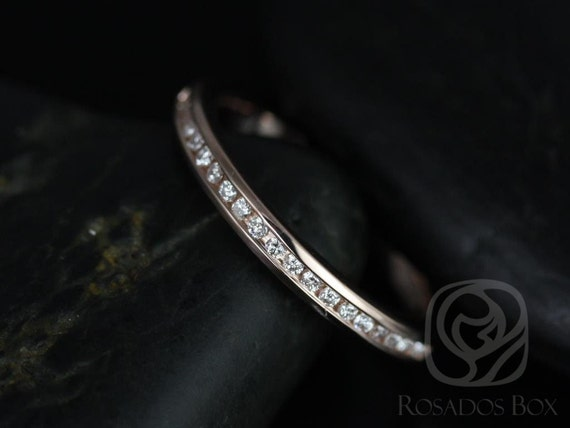 Rosados Box Martha 14kt Rose Gold Channel Set Round Diamonds HALFWAY Eternity Band