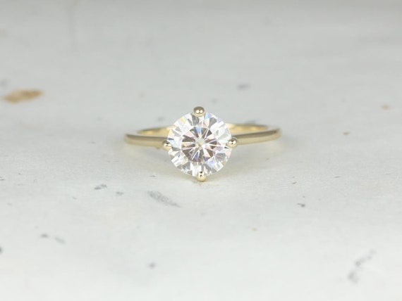 Rosados Box Skinny Frieda 8mm 14kt Yellow Gold Round F1- Moissanite Compass Set Cathedral Solitaire Engagement Ring