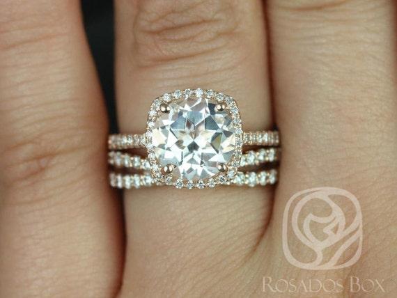 Rosados Box Barra 9mm & Lima 14kt Rose Gold Round White Topaz Diamond Cushion Halo Wedding Set Rings