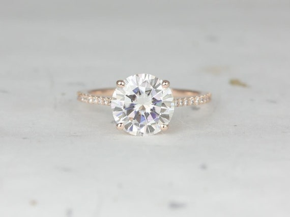 2.70ct Eloise 9mm 14kt Rose Gold Round Forever One Moissanite Diamonds Pave Cathedral Round Solitaire Accent Engagement Ring,Rosados Box