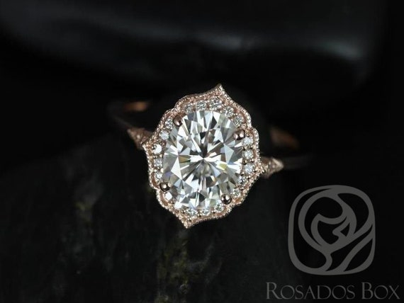 Rosados Box Ready to Ship Mae 9x7mm & Ultra Petite Leah 14kt Rose Gold Oval FB Moissanite and Diamond Halo WITH Milgrain Wedding Set