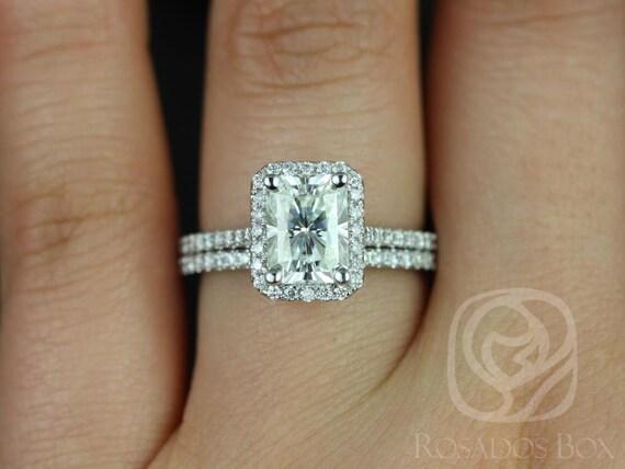 Rosados Box Brianna 8x6mm 14kt White Gold Radiant Forever One Moissanite Diamond Halo Wedding Set Rings