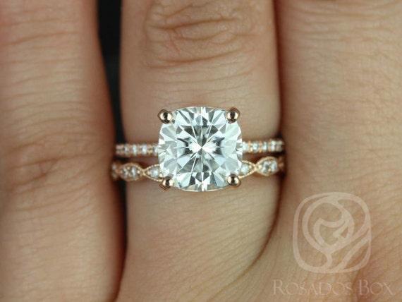 3.30ct Heidi 9mm & Christie 14kt Rose Gold Forever One Moissanite Diamond Scalloped Pave Hidden Halo Wedding Set Rings,Rosados Box