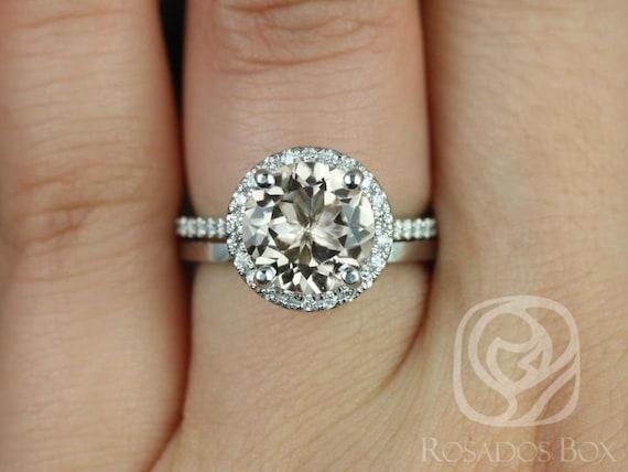 Rosados Box Kubian 9mm & Plain Kubian 14kt White Gold Round Morganite and Diamonds Halo Wedding Set