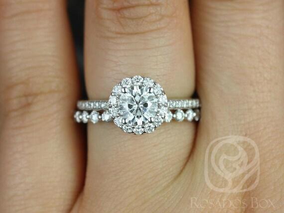 Rosados Box Marisol 6mm & Petite Naomi 14kt White Gold Round Halo F1- Moissanite and Diamonds Wedding Set