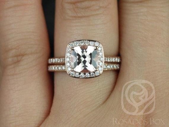 Rosados Box Hollie 8mm 14kt Rose Gold Cushion Morganite Diamond Pave Halo Wedding Set Rings
