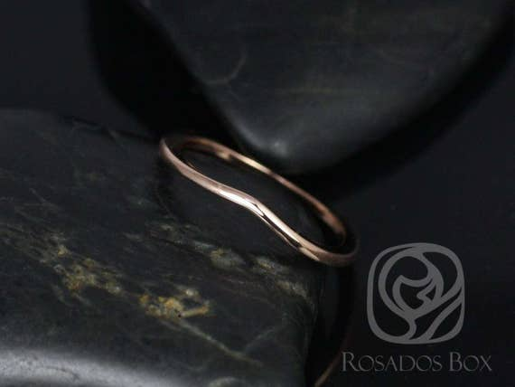 Rosados Box 14kt Rose Gold Matching PLAIN Band to Lacy 9mm Wedding Band