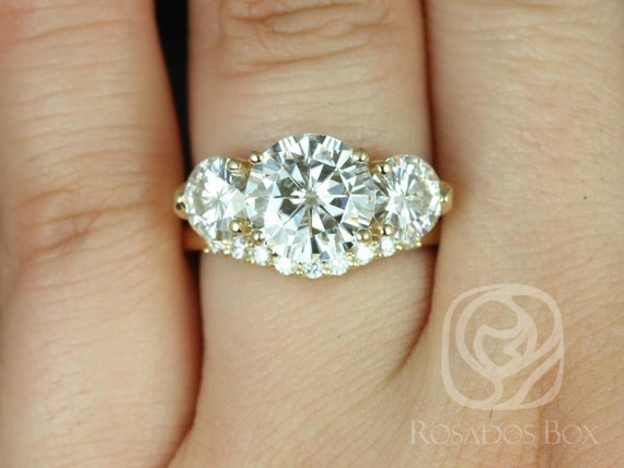 Rosados Box Carla 9&6mm 14kt Yellow Gold Round Forever One Moissanite and Diamond 3 Stone Wedding Set Rings