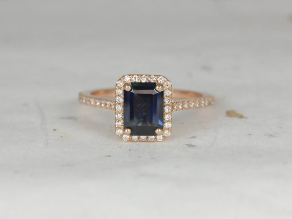 1.38ct Ready to Ship Lisette 14kt Rose Gold Emerald Teal Blue Sapphire Diamonds Dainty Halo Engagement Ring,Rosados Box
