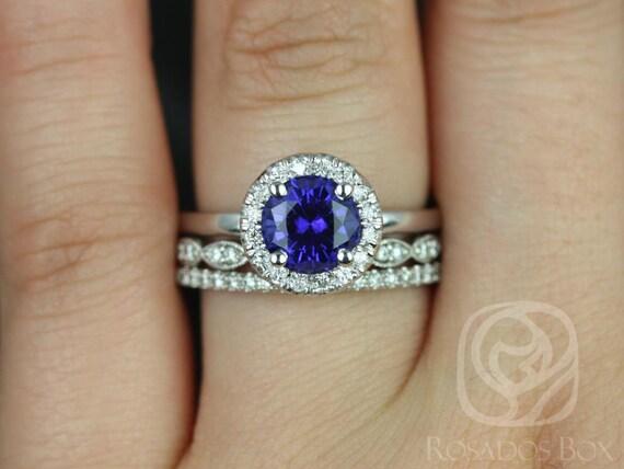 Katie 7mm-Christie-Tabitha 14kt White Gold Blue Sapphire Diamonds Dainty Pave Round Halo TRIO Wedding Set Rings,Rosados Box