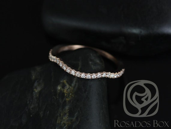 Rosados Box 14kt Rose Gold Matching Contour Diamond Band to the Thelma 10x8mm HALFWAY Eternity Band