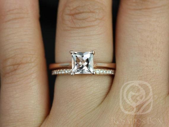 Rosados Box Gallina 6mm & Hollie 14kt Rose Gold Princess Morganite and Diamond Wedding Set