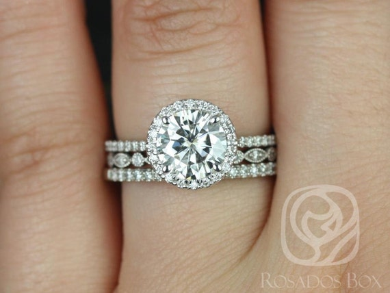 1.50ct Round Forever One Moissanite Diamond Thin Pave Halo TRIO Wedding Set Rings Rings,14kt White Gold,Kimberly 7.5mm & Gwen,Rosados Box