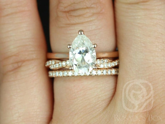 Rosados Box Skinny Jane 10x7mm, Twyla, & Pernella 14kt Rose Gold Pear F1- Moissanite Cathedral Solitaire TRIO Wedding Set