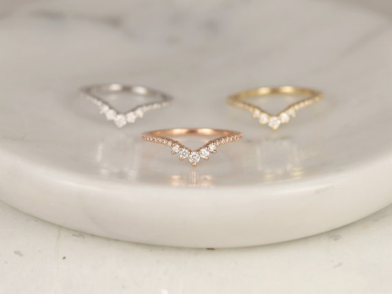Aldis 14kt Solid Gold Diamonds Dainty Chevron Tiara Crown Curved Unique Nesting Ring,Stacking Ring,Rosados Box